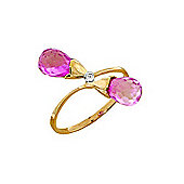 QP Jewellers Diamond & Pink Topaz Duo Briolette Ring in 14K Gold