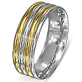 Urban Male Modern Men's Two Colour Stainless Steel Polished Ring 8mm