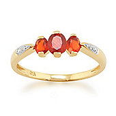 Gemondo Fire Opal Ring, 9ct Yellow Gold 0.47ct Fire Opal & Diamond Three Stone Style Ring