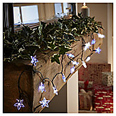 20 Battery Operated Star Christmas Lights, White and Blue