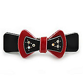 Black/ Red Acrylic Crystal Bow Barrette Hair Clip Grip - 80mm Across