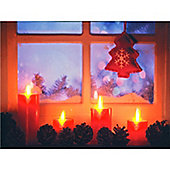 LED Wall Canvas Window Scene with 4 Red Candles