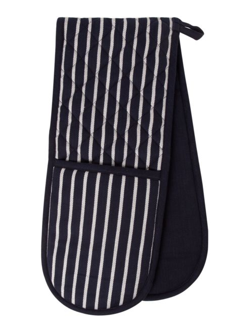 Linea Butcher Stripe Double Oven Glove In White