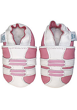 Dotty Fish Soft Leather Baby Shoe - White and Pink Trainer Design - Pink