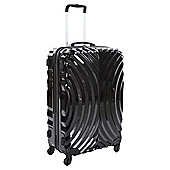 Beverly Hills Polo Club 4-Wheel Hard Shell Suitcase, Black Oyster Print Small