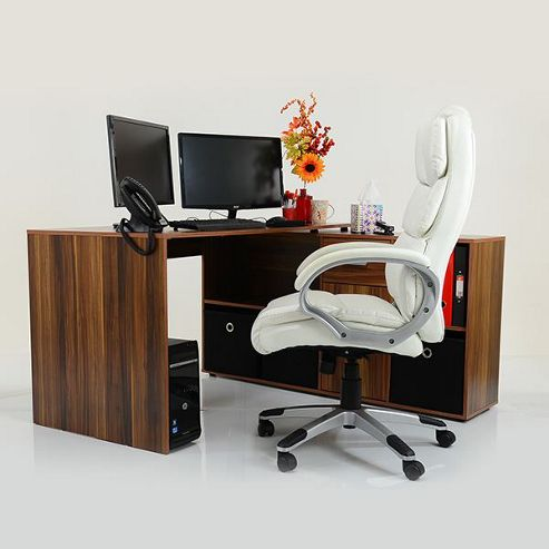 Buy stanton corner multi position office desk dark wood black drawers from our workstations - Tesco office desk ...