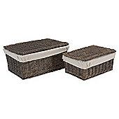 Tesco Grey Wicker Lined Lidded Baskets Set Of 2