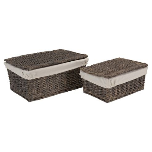 Tesco Grey Wicker Lined Lidded Baskets Set Of 2