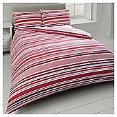 Basic Tonal Stripe Duvet Set - Red