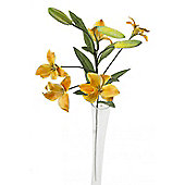 Artificial 75cm Single Stem Multi Headed Golden Yellow Asiatic Lily