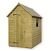 4ft x 4ft Pressure Treated T&G Apex Shed + 1 Window + Single Door