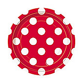 Red Polka Dot Dessert Plates - 17cm Paper Party Plates