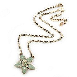 Mint Green Enamel Flower Pendant Gold Tone Chain Necklace - 36cm Length/ 7cm Extension