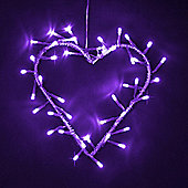 Silver Metal Heart Wreath with Purple LED Fairy Lights