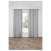 Silk Effect Lined Eyelet Curtains, Duck Egg (66 x 54'') - Silver