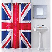 Union Jack Hookless Shower Curtain