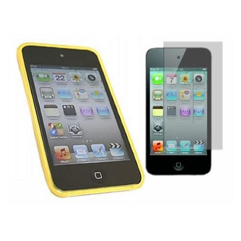 Yellow Twin Pack ProGel Skin Case & LCD Screen Protector - iPod Touch 4G