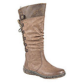 Relife by Pavers Water Resistant Slouch Boot with Laced Calf - Brown