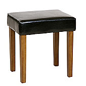 Home Essence Faux Leather Stool - Black - Medium Wood