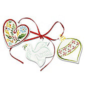 Portmeirion Christmas Wish Tree Decorations, Heart, Dove, Bauble