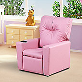 Homcom Recliner Sofa Childrens PU Leather Armchair Adjustable Footrest & Backrest w/ Cup Holder Pink
