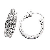 Jewelco London Rhodium-Coated Sterling Silver Hoop Earrings