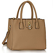 Nude Three Zip Compartments Handbag Padlock Grab Bag