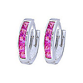 QP Jewellers 1.30ct Sapphire Huggie Earrings in 14K White Gold