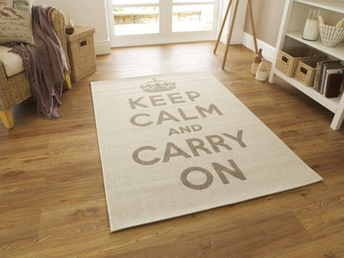 Oriental Carpets & Rugs Cottage Keep Calm Flat Weave Novelty Rug - 150cm L x 80cm W