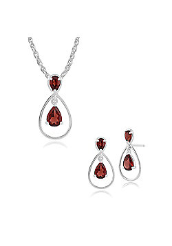 Gemondo 9ct White Gold Garnet Drop Earring & 45cm Necklace Set