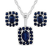 Sterling Silver Natural Sapphire Oblong Cluster Stud Earrings & Necklace Set