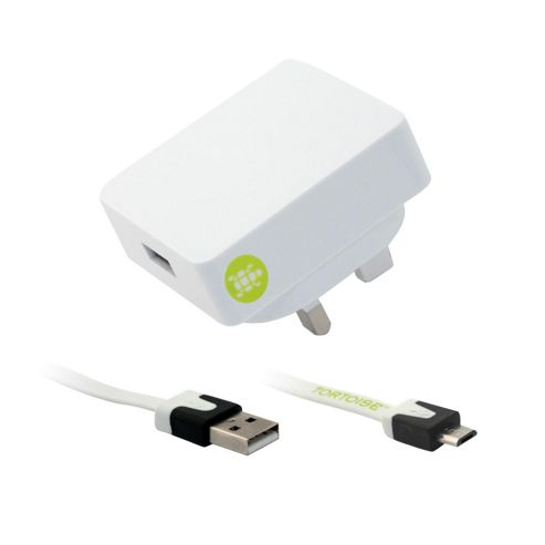 Tortoise™ Look Micro USB Mains Charger. White