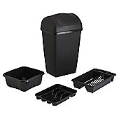 Tesco 4pc Kitchen Starter Set With 50L Bin - Black