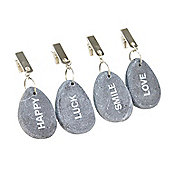 Set of Four Clip On Grey Pebble Table Cloth Weights Outdoor Garden Accessory