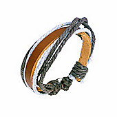 Urban Male Genuine Brown Leather & Cord Surfer Style Bracelet
