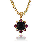 Gemondo Gold Plated Silver 2.5ct Spinel, 0.65ct Rhodolite & 8pt Diamond Pendant on Chain