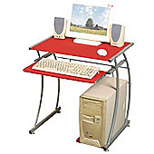 Olive - Office Workstation / Computer Desk - Red / Silver