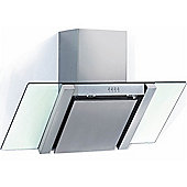 Baumatic BE700GL Angled Stainless Steel And Glass 70cm Wide Chimney Cooker Hood