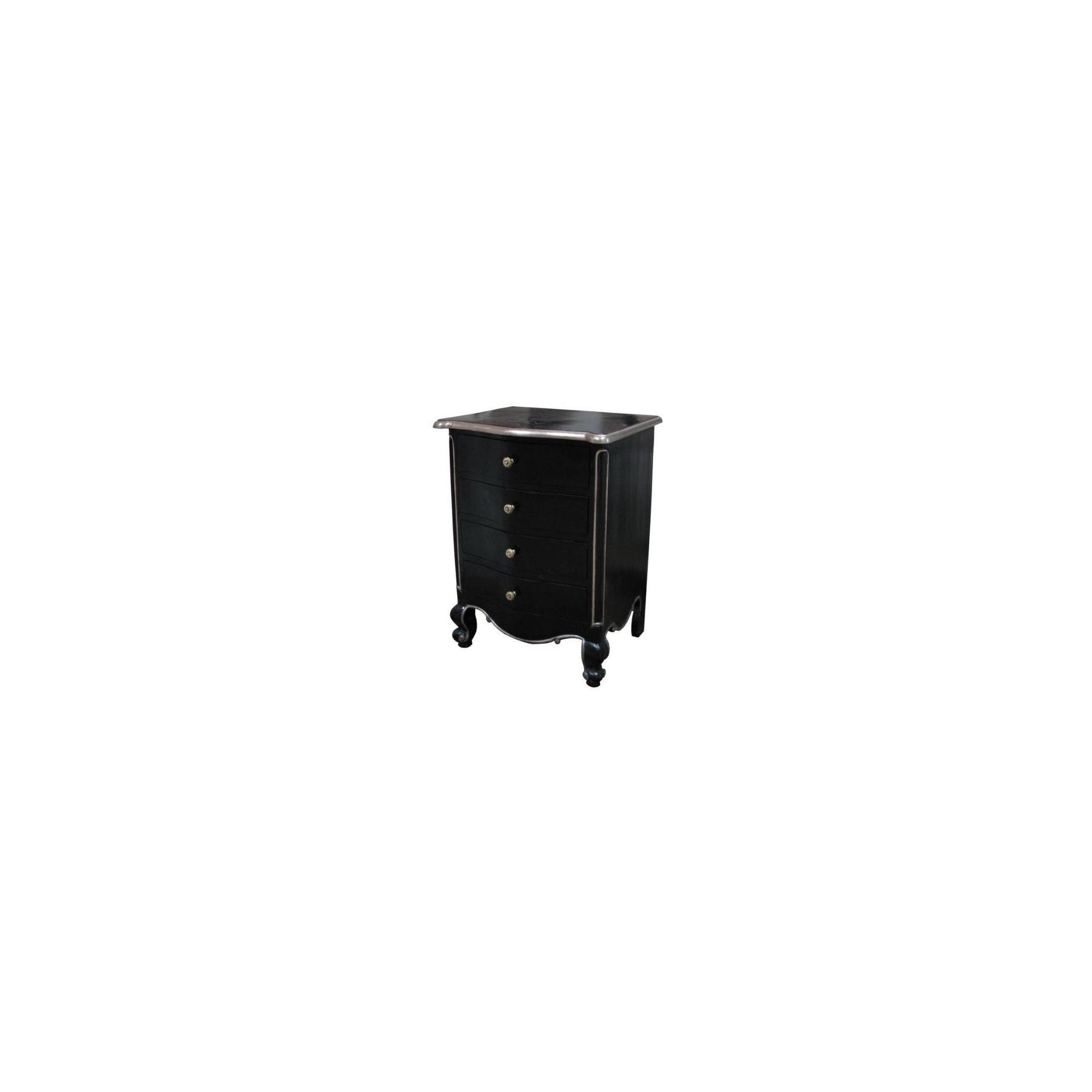Lock stock and barrel Mahogany Louis 4 Drawer Bedside Table in Mahogany - Black at Tesco Direct