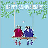 Holy Mackerel Greetings Card- Happy anniversary love bird swing