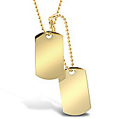 "Jewelco London 9ct Solid Gold hand-made military style Dog Tag with 24"" + 4"" bead Chain"