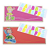 Bigjigs Toys Name Plaque (Fairy) (Pack of 2 - Orange and Dark Pink)