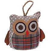 Puckator Cute Brown Tartan Wide Awake Owl Shaped Doorstop