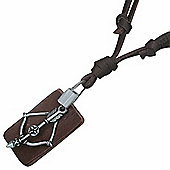 Brown Leather Cord Bow & Arrow Dog Tag Style Necklace For Men