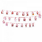 Santa Design Ribbon Washing Line Advent Calendar with 24 Numbered Cardboard Gift Bags