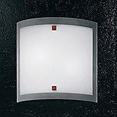 Linea Light Nove 99 Two Light Flush Ceiling/Wall Light in Cherry Wood - 30cm H x 30cm W x 8cm D