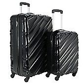 Swiss Case 4 Wheel Spinner Wave 2Pc Strong Abs Suitcase / Luggage Set Black