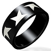 Urban Male Modern Men's Black Stainless Steel 8mm Star Ring