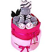 2 Tier Baby Pink Zebra Nappy Cake