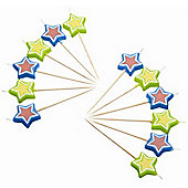KitchenCraft Miniamo Brights Star Shaped Candles (Pack of 12)